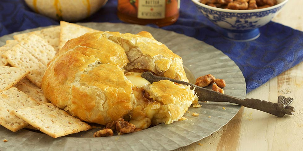 Baked Brie with Pumpkin Butter and Candied Walnuts