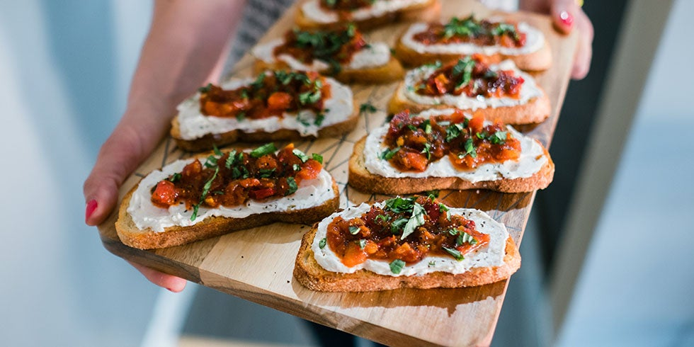 Whipped Goat Cheese Crostini with Sweet Cherry Peppers