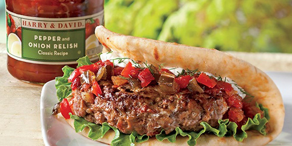 Lamb Burgers with Pepper and Onion Relish