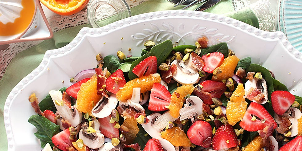 Honeybell Citrus, Strawberry and Spinach Salad