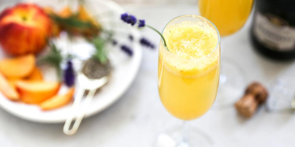 Homemade Lavender Peach Bellini