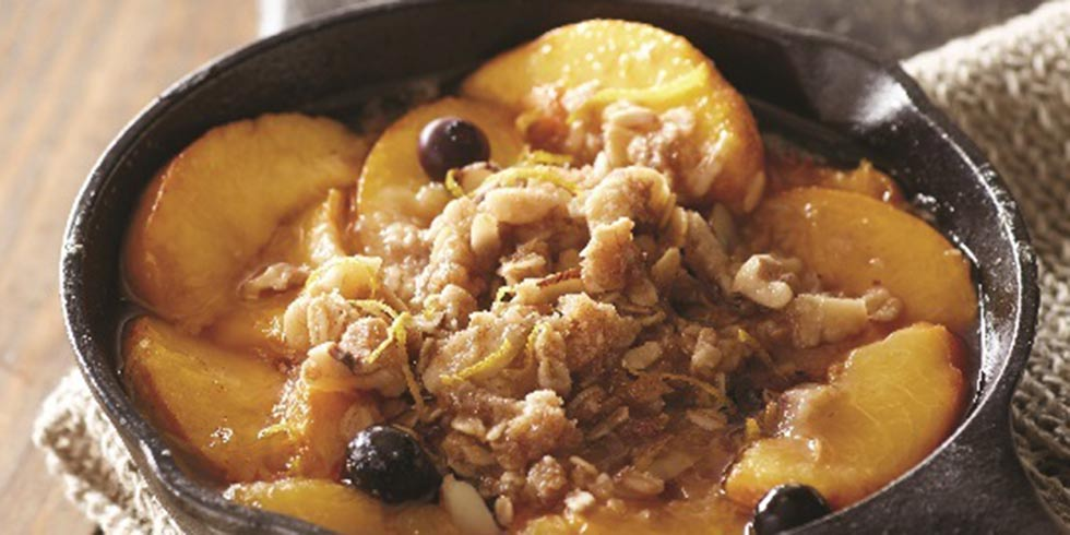 Classic Peach Crisp with Blueberries