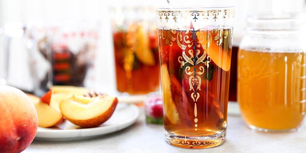 Peach Iced Tea with Honey-Peach Simple Syrup
