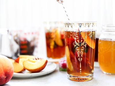 Peach Iced Tea with Honey-Peach Simple Syrup