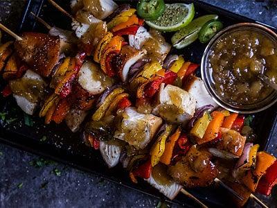 Charred Pineapple Chicken and Steak Kebabs