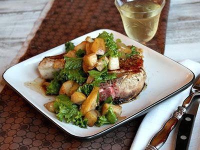 Pan Seared Pork Chops with Pear Mostarda