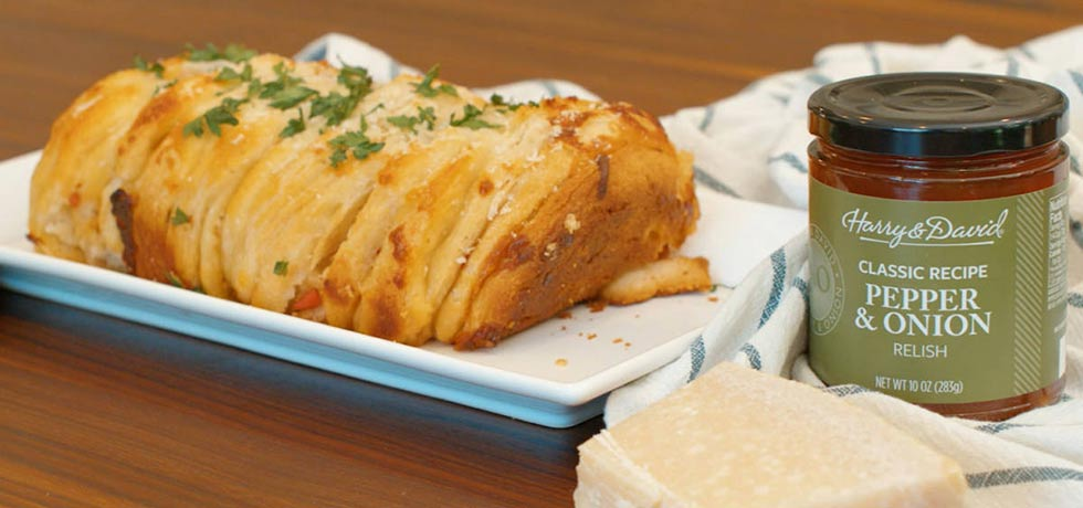 Pepper and Onion Relish Pull Apart Bread