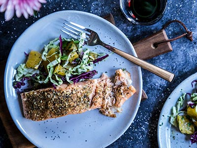 Cuban Roasted Salmon with HoneyBell Slaw