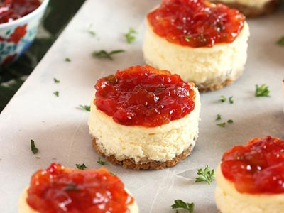 Savory Cheesecakes with Pepper and Onion Relish