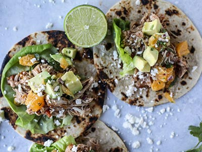 Chicken Tacos with Citrus Avocado Salsa